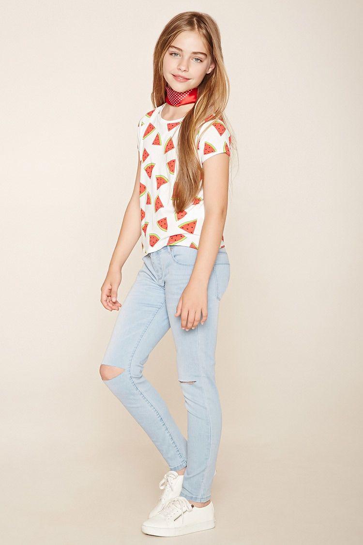 Girls Ripped Jeans (Kids)   Forever 21 girls 2000153899 in