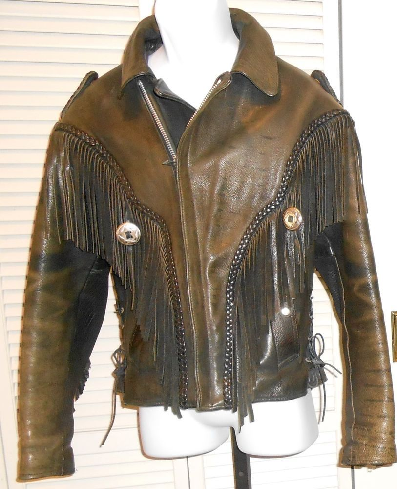 Interstate Gear Vintage Distressed Black Leather Fringed Motorcycle Jacket 40 Leather Fringe Black Leather Unique Outfits [ 1000 x 813 Pixel ]