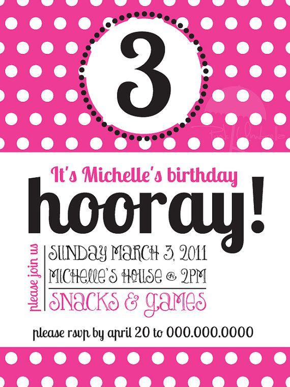 Pink Polka Dot Birthday Invitation Sample By PinkUmbrellaInvites 165 3rd Parties Celebration