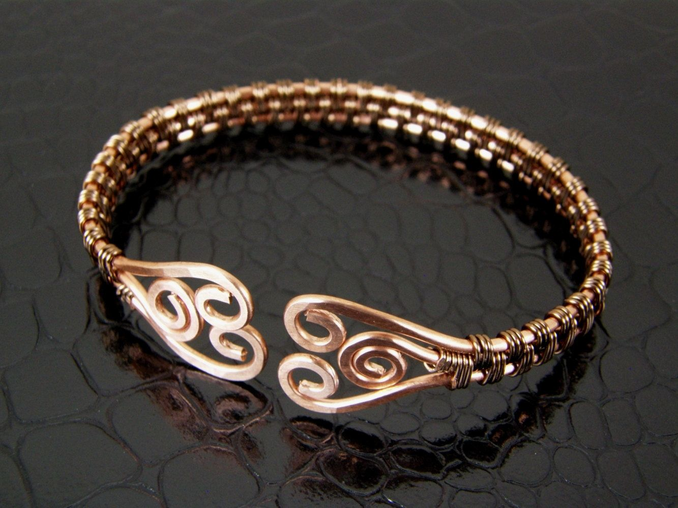 Wire Wrapped Copper & Bronze Hammered Spiral Wire Weave Bracelet or ...