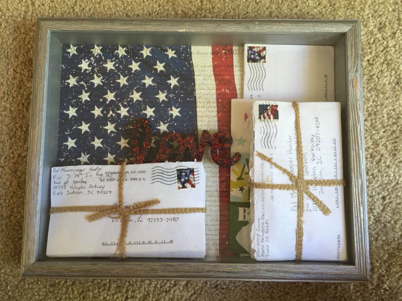 basic training letter display shadow box