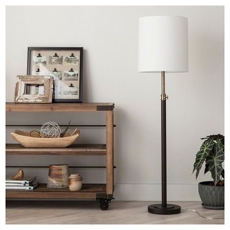 "Column Floor Lamp Davis Adjustable Column Floor Lamp  Ebony 655""  Threshold"