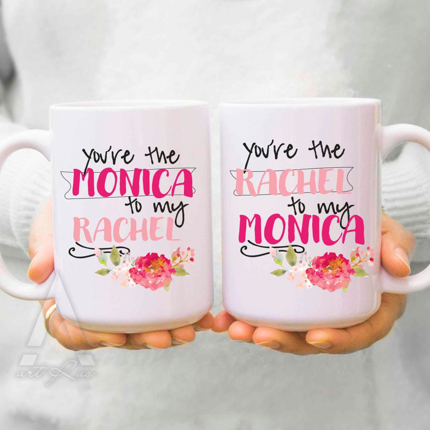 """Wedding Gift For Friend Female: Best Friend Mugs, Birthday Gifts """"you Are The Monica To My"""