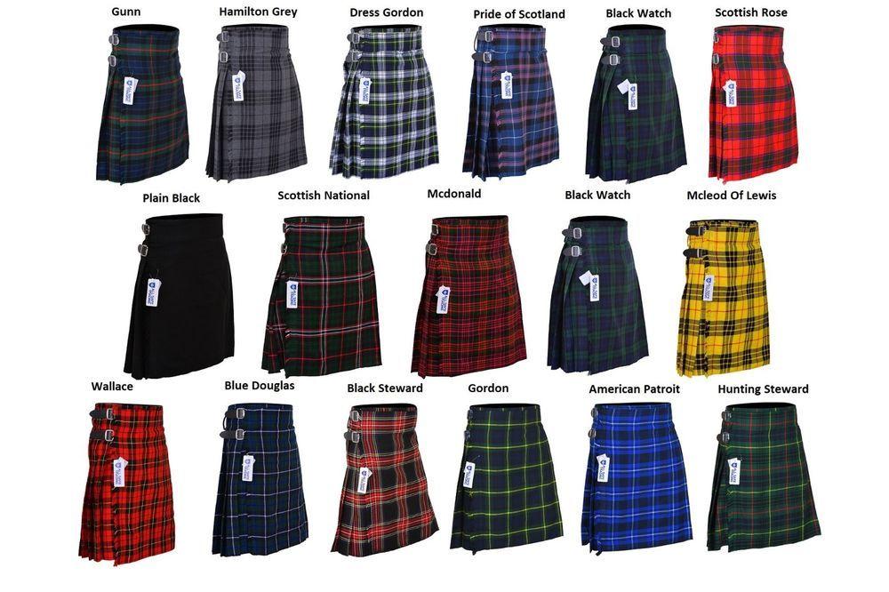 New Men/'s 5 Yard Scottish Kilts Tartan Kilt 13oz Highland Casual Kilt 6 Tartans