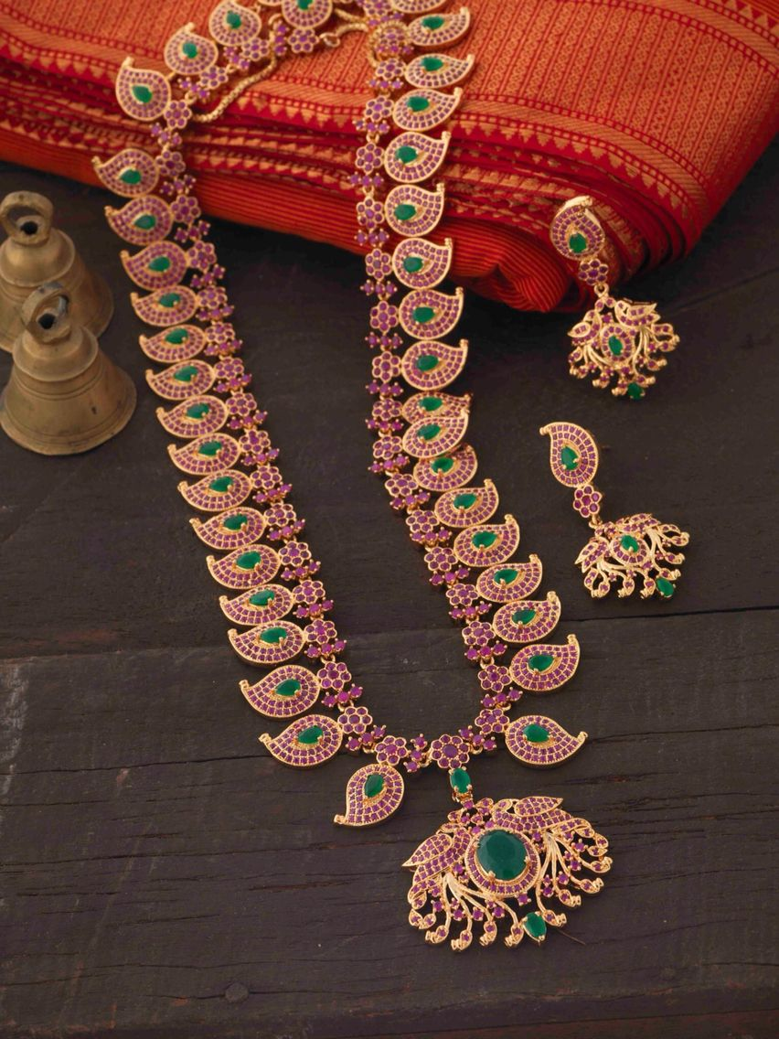 Imitation Ruby Emerald Mango Haram Set Indian Wedding JewelleryTemple