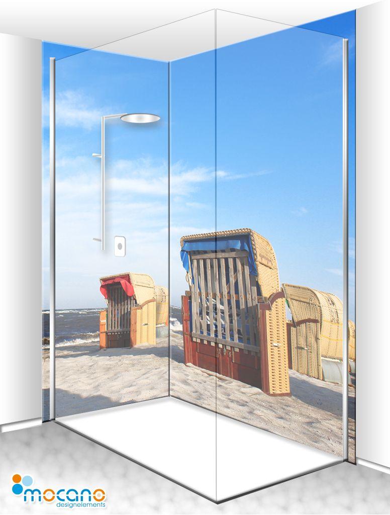 Beach Duschruckwand Als Trenige Wandverkleidung Im Badezimmer Badidee Dusche Strand Design Duschruckwand Dusche