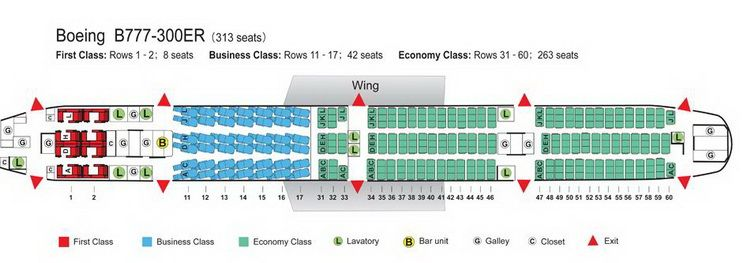 Air China Seat Map AIR CHINA AIRLINES BOEING 777 300ER AIRCRAFT SEATING CHART