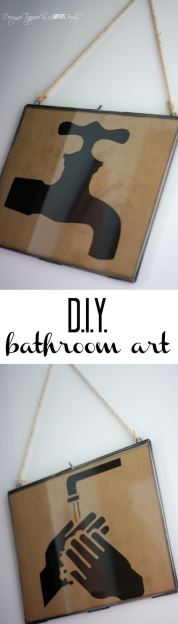 FABULOUS!  Love this DIY bathroom decor!  Full tutorial by Designer Trapped in a Lawyer's Body!  #BathroomArt