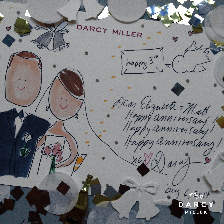 Anniversary Card Happy 3rd Anniversary Wedding Drawing Anniversary Note