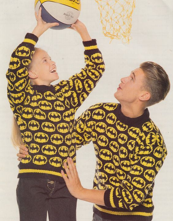 Vintage Knitting Pattern For Batman Sweater In Adult And Child Sizes