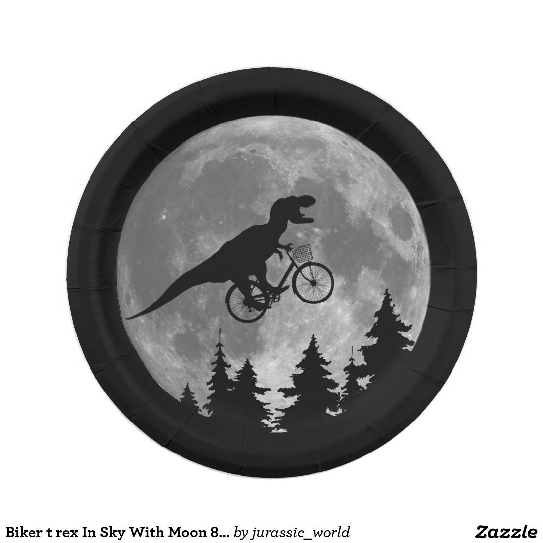 sc 1 st  Pinterest & Biker t rex In Sky With Moon 80s Parody Paper Plate
