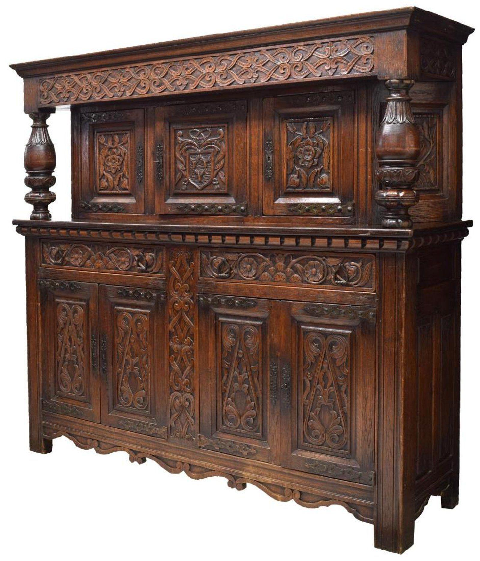French Renaissance Revival Carved Oak Sideboard Oak Sideboard
