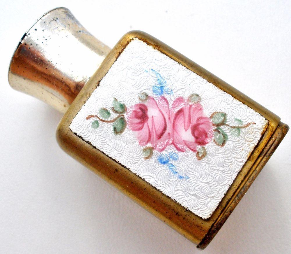 Vintage small perfume bottle guilloche enamel rose pink white uamp