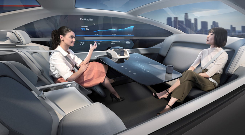 volvo 360C autonomous car concept is a bedroom, living space and work office on wheels