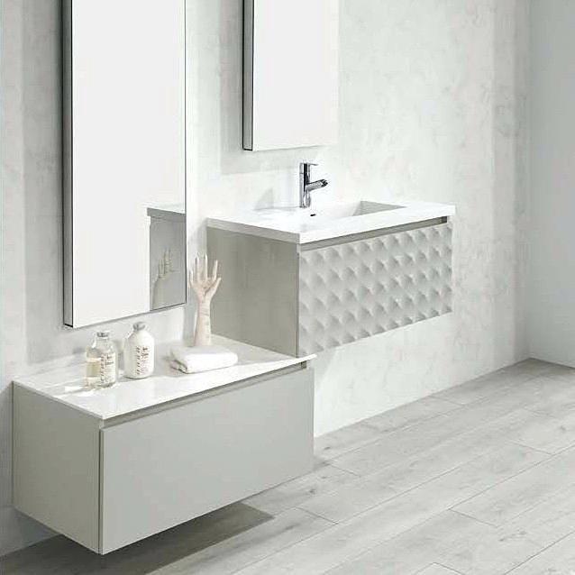 Resultado de imagen de meubles salle de bain blanc+fusta