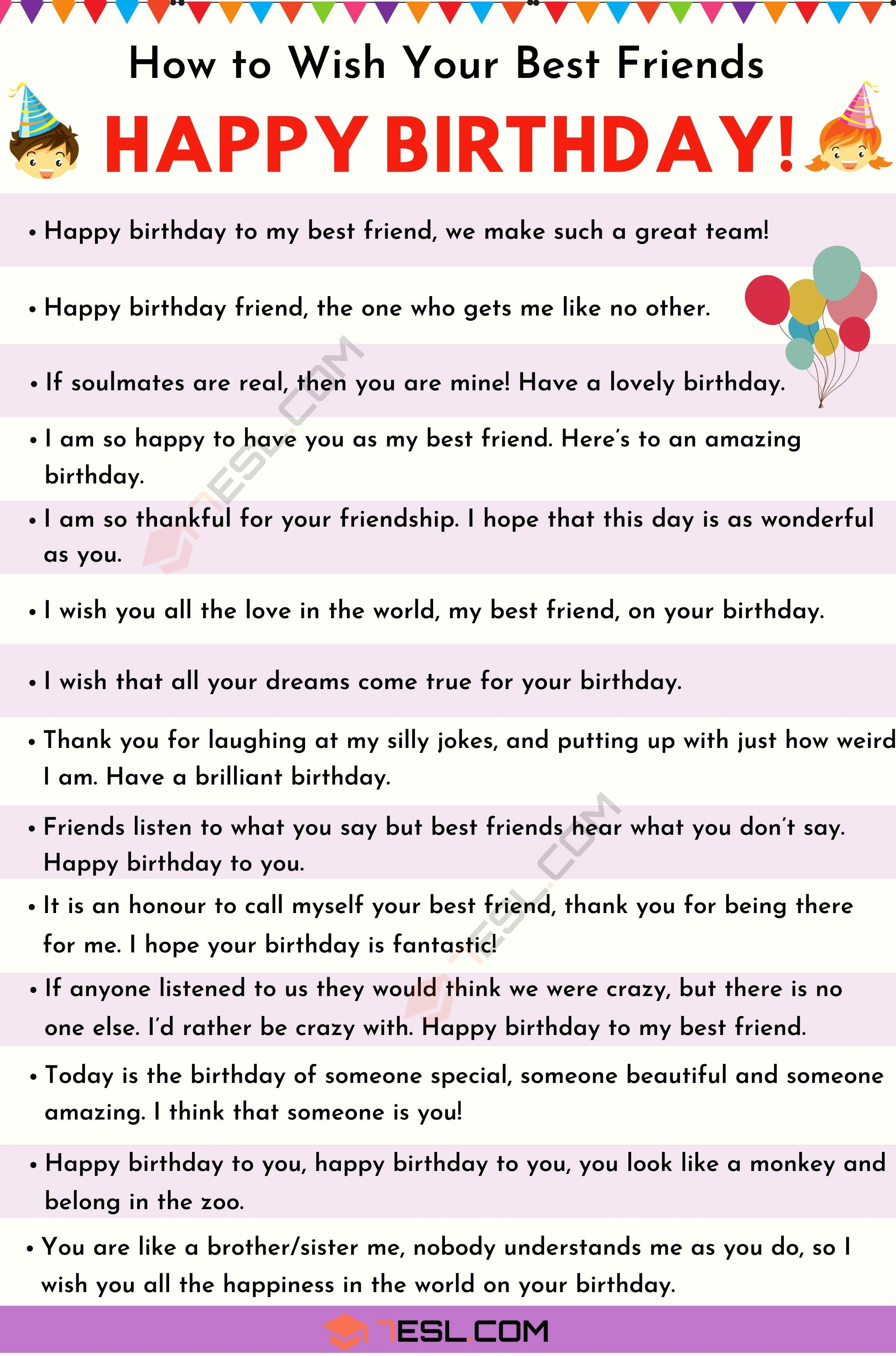 Happy Birthday Friend 35 Heartfelt And Funny Birthday Wishes For Friends 7esl Birthday Wishes For Friend Happy Birthday Best Friend Quotes Friend Birthday Quotes