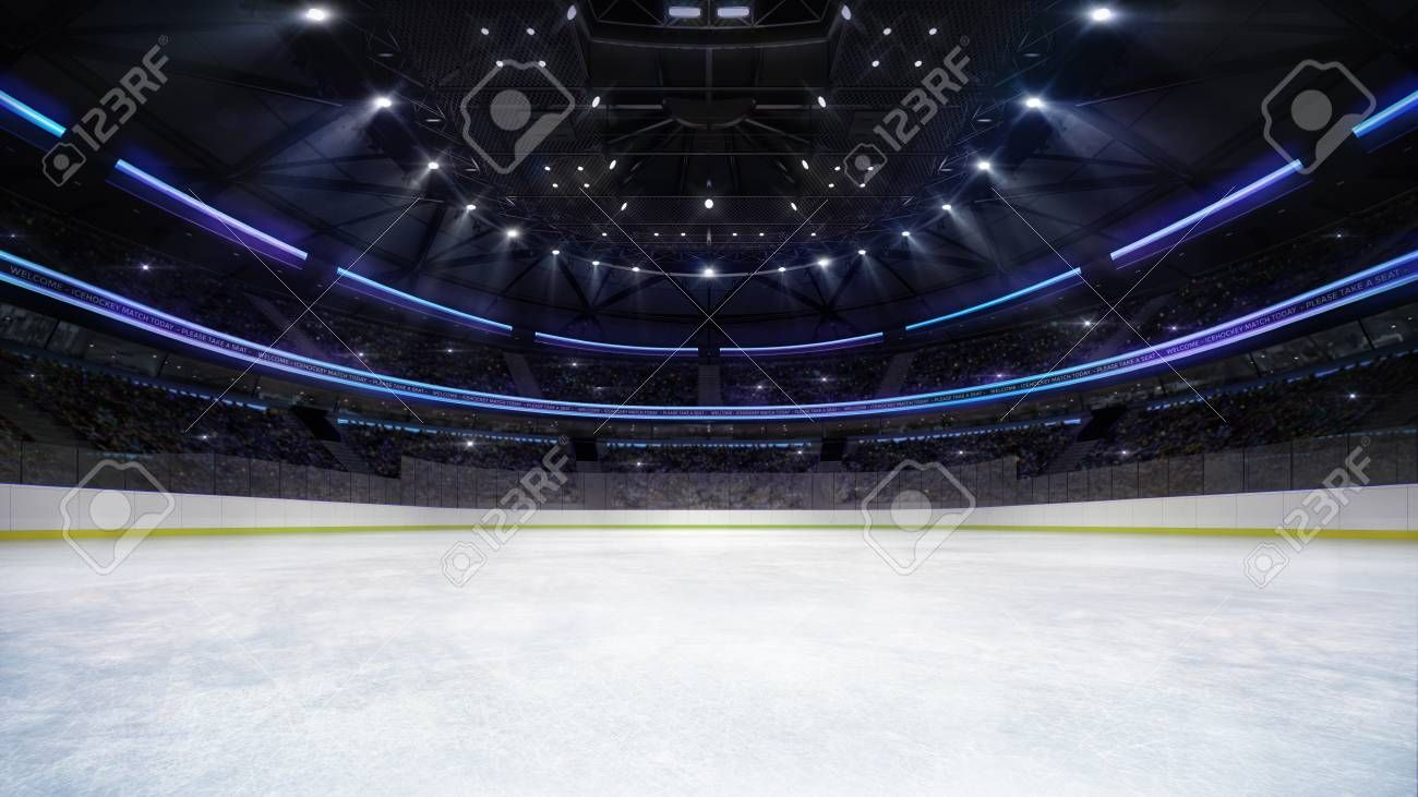 Empty Ice Rink Arena Inside View Illuminated By Spotlights Hockey And Skating Stadium Indoor 3d Render Illustration Background My Own Hockey Ice Rink Stadium