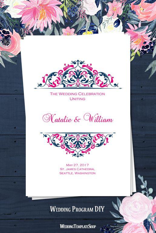 Hot Fuchsia Pink Navy Blue Wedding Programs Diy Printable Templates In The Grace Design Series