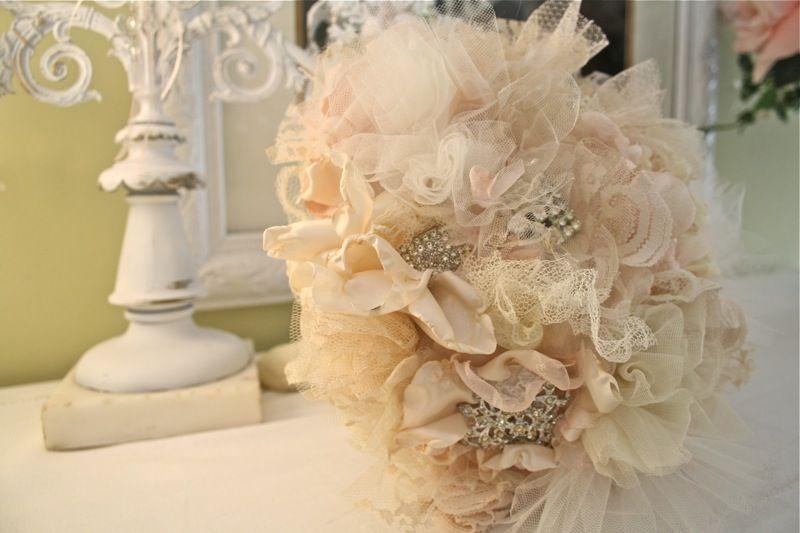 Vintage Fabric Flower Bridal Bouquet- DIY | Pretty Wedding Ideas ...