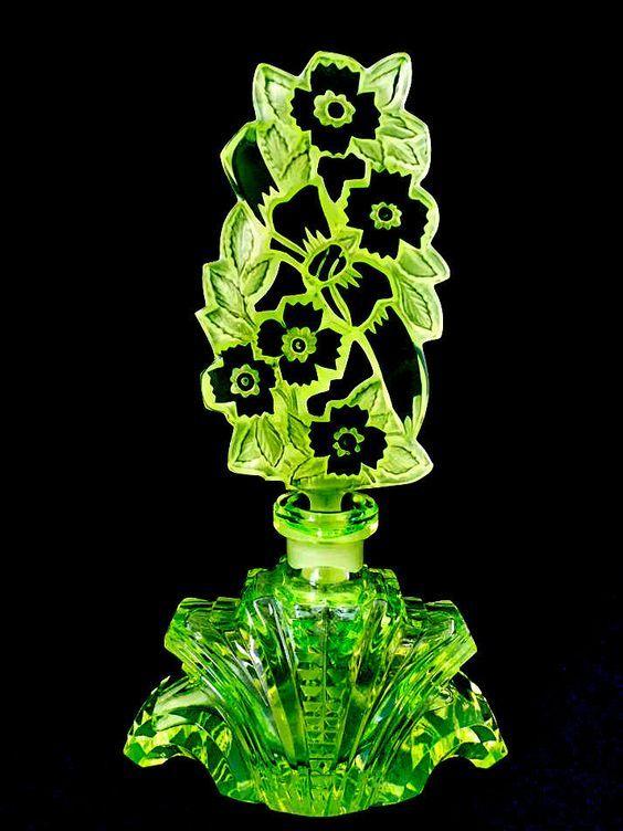 Bohemian Vaseline Art Deco Style Glass Czech Perfume Bottle Pesnicak   eBay: