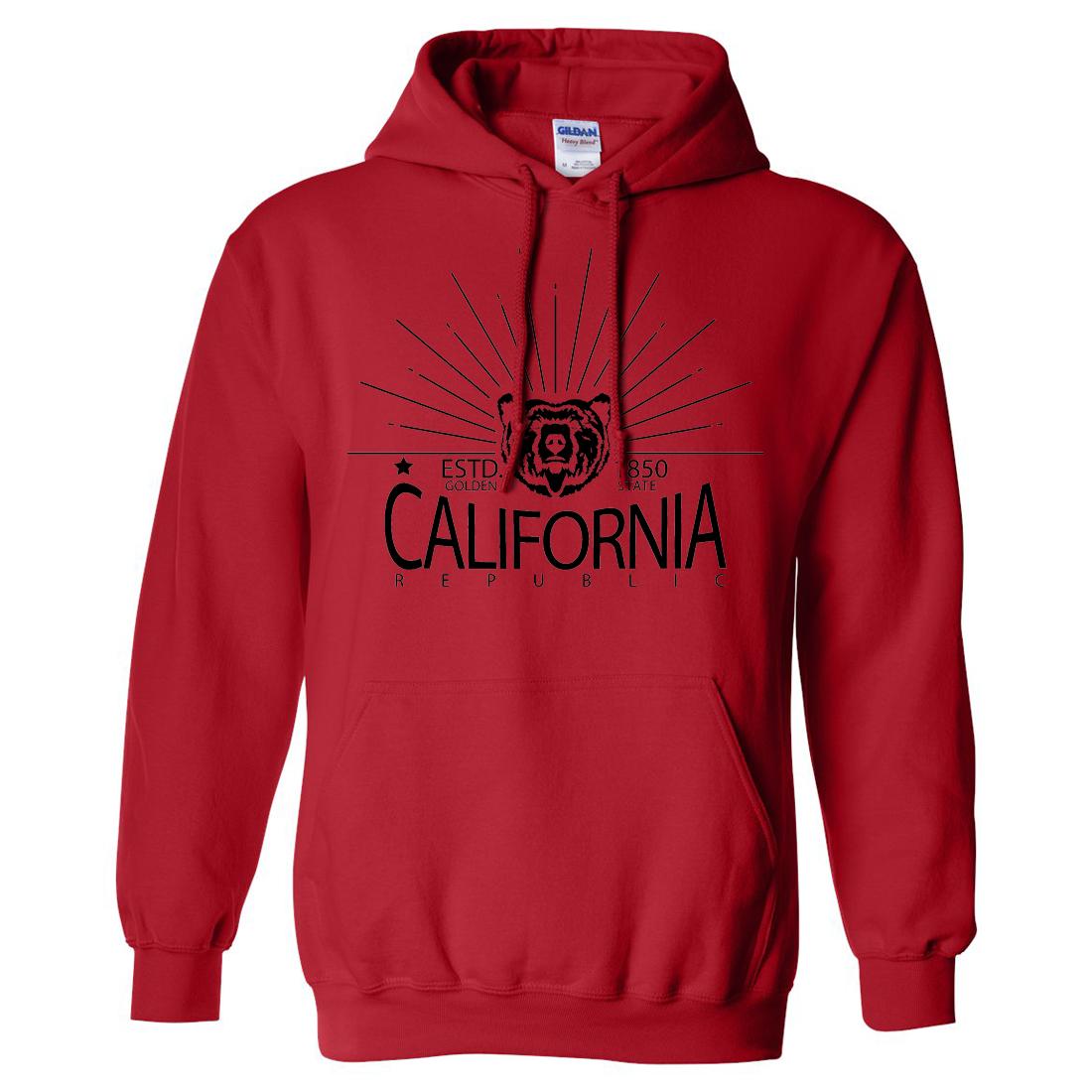 California Golden State Black Print Sweatshirt Hoodie
