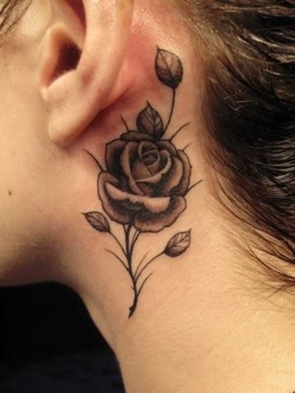 61 Small Rose Tattoos Designs For Men And Women Black Rose Tattoos Ear Tattoo Neck Tattoo