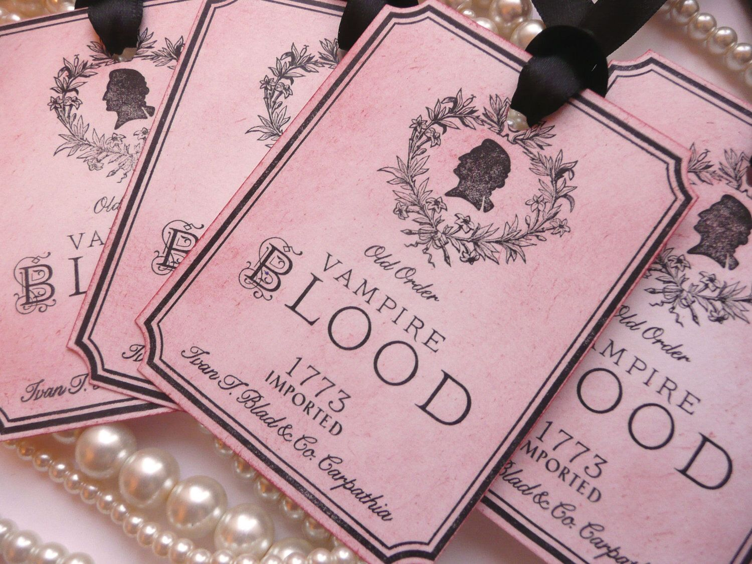 Vampire Blood Tags, Halloween Wine Tags, Gothic Wedding Favours ...