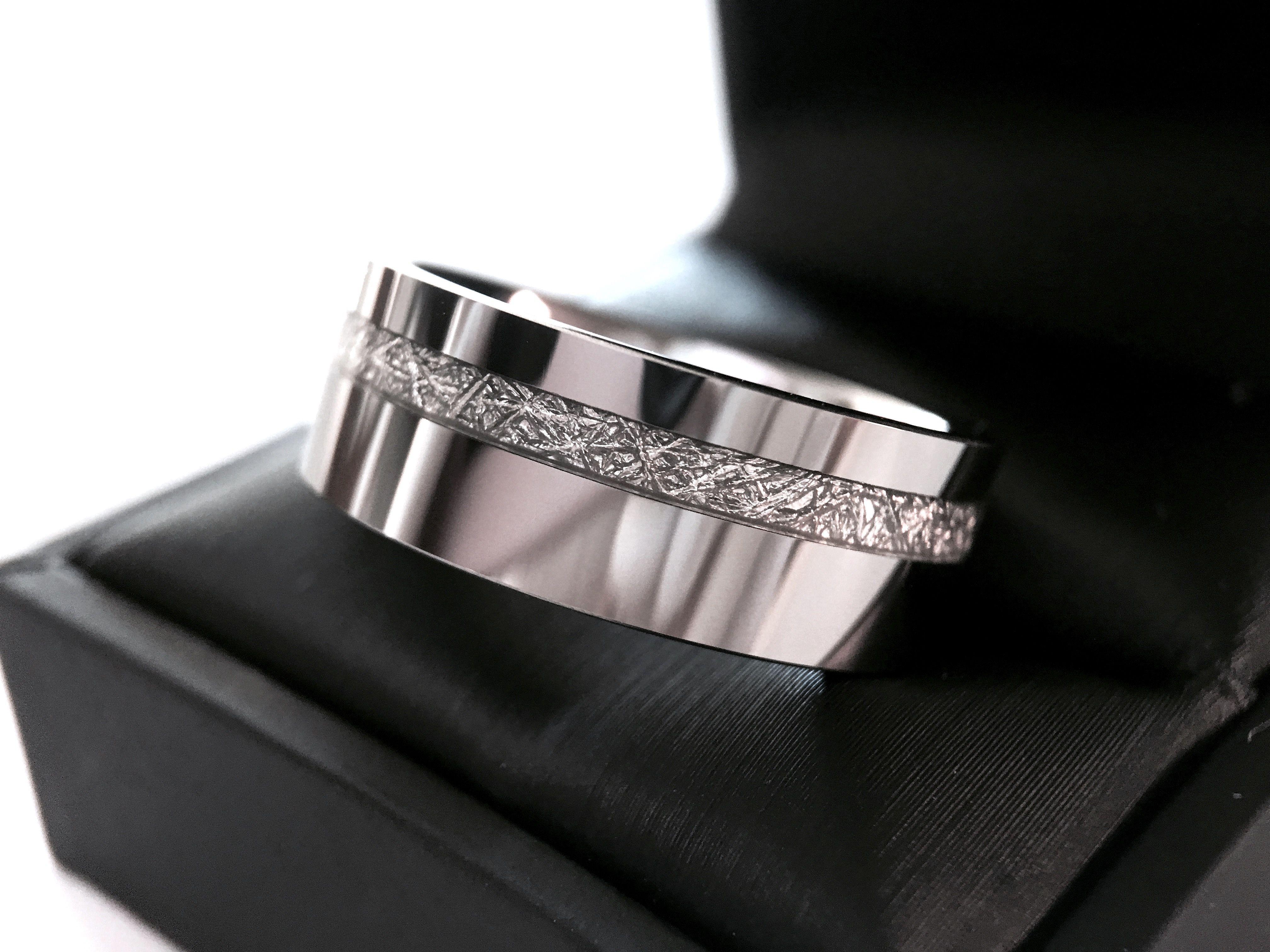 Tungsten Wedding Bands Meteorite Inlay Blue Tungsten Ring Tungsten Wedding Bands Womens Tungsten Rings Tungsten Carbide Wedding Bands