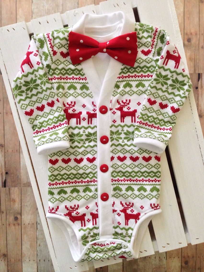 christmasholiday baby preppy cardigan bow tie set red reindeer ugly sweater party print and bow tie coming home outfit christmas photos