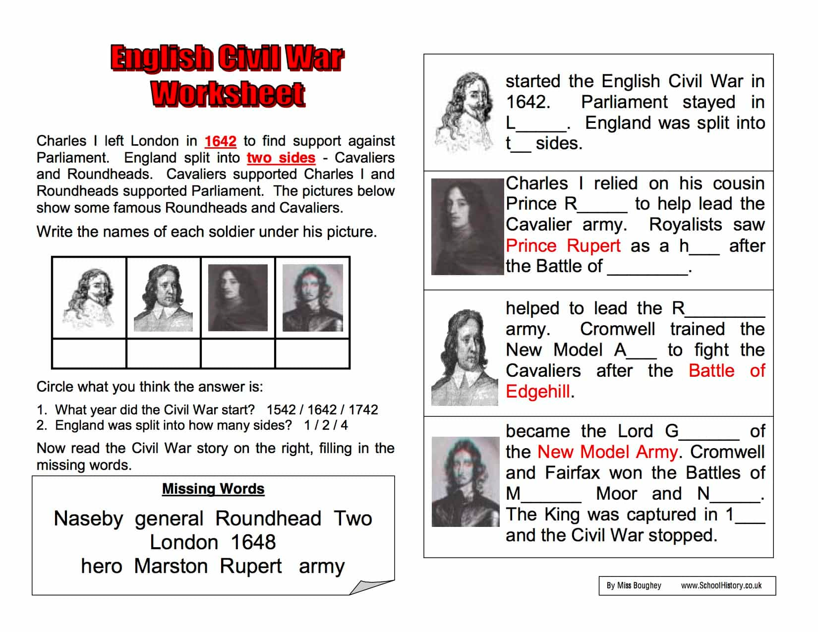English Civil War Worksheet With Images