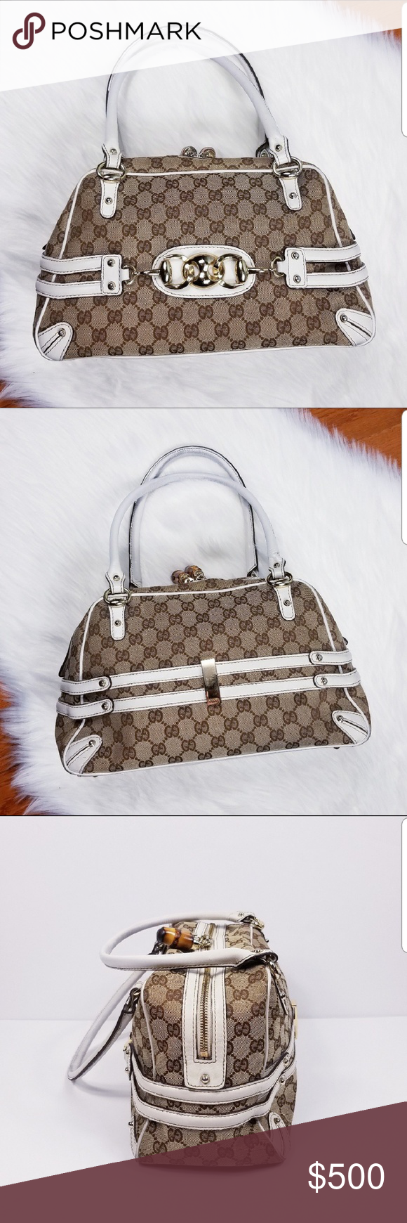 b1687f4764b Gucci guccissima wave boston bag Authentic tan and brown GG canvas gucci  wave boston bag Gold tone hardware Cream leather trim Rolled handles  Horsebit at ...