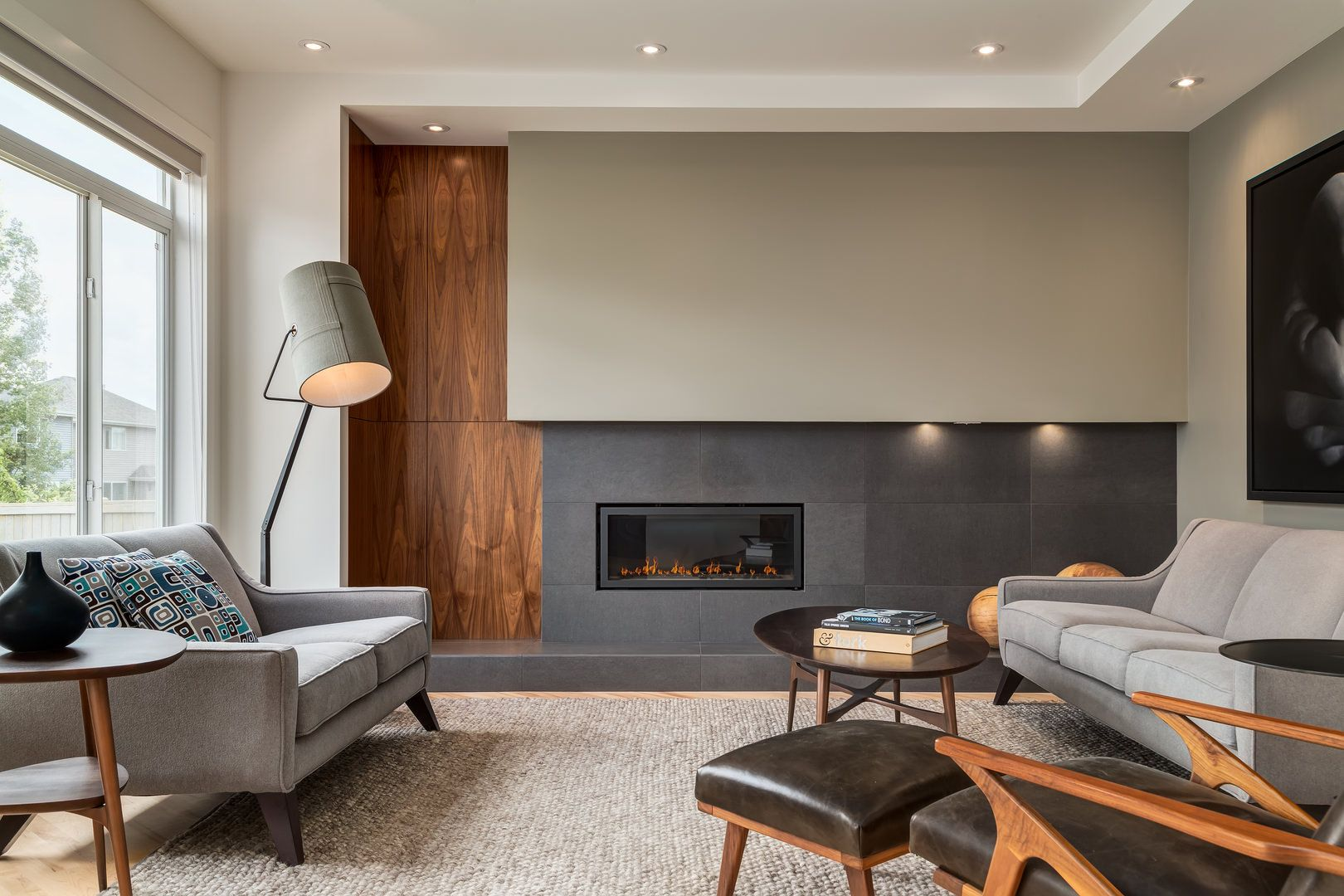 Contemporary Interior Design with Extensive Walnut Millwork ...