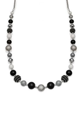Jules B  Black Gray and White Long Beaded Necklace