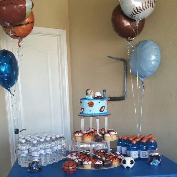Ideas: Sports Themed Baby Shower I Hosted. | Cake | Gatorade | Water Bottles