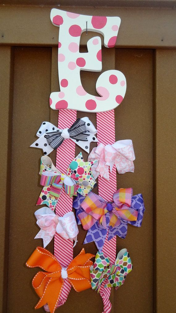 Adorable little girls personalized hair bow holder by for Decoracion de ganchos