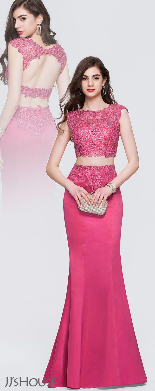 Trumpetmermaid scoop neck floorlength satin prom dresses with