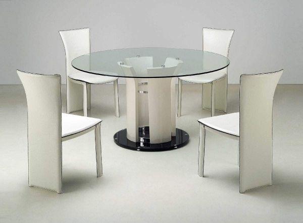 Fesselnd Moderne Esszimmermöbel Ideen Runder Esstisch Glasplatte Weiße Stühle