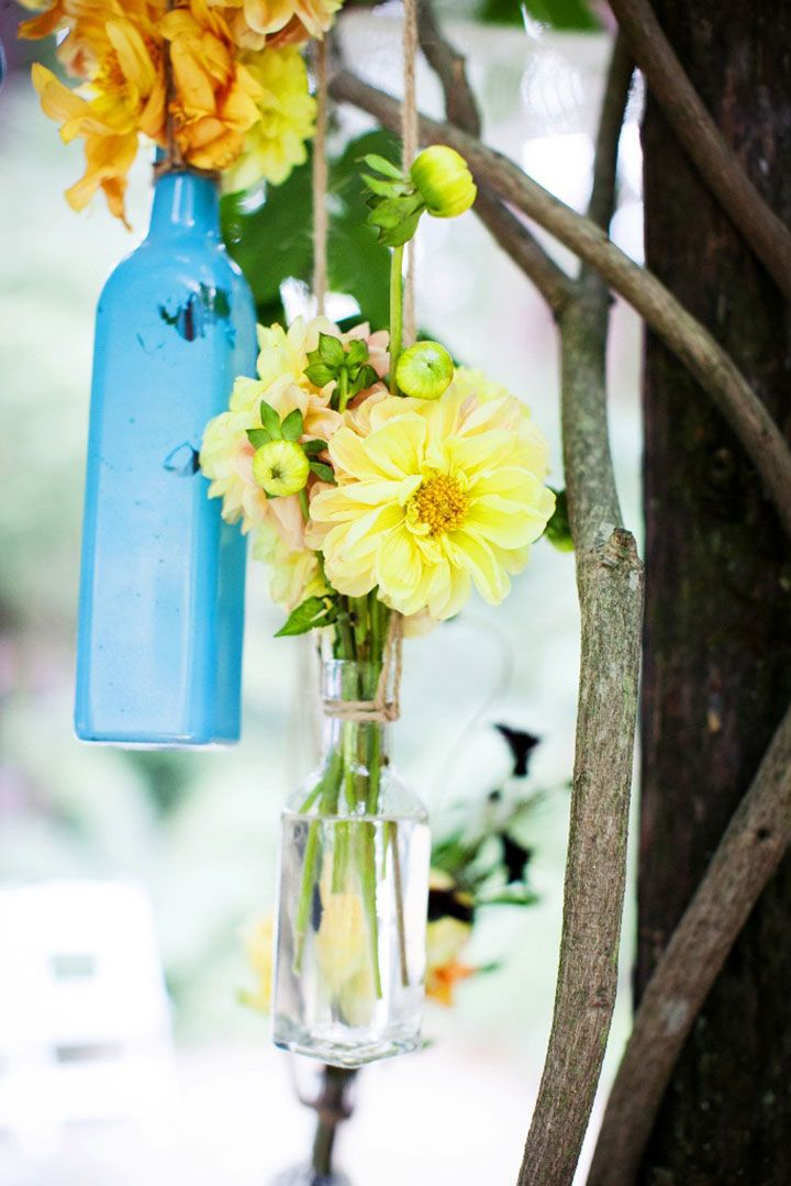 Suspended Glass Bottles in Blue As Ceremony Backdrop Decor ~ we ❤ this! moncheribridals.com