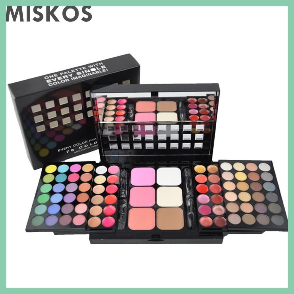 Miskos 78 Color Eyeshadow Palette Set 48 Eyeshadow 24 Lip Gloss