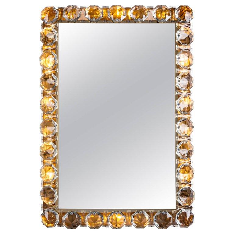 Bakalowits And Sohne Austrian Crystal Framed Mirror Circa 1960