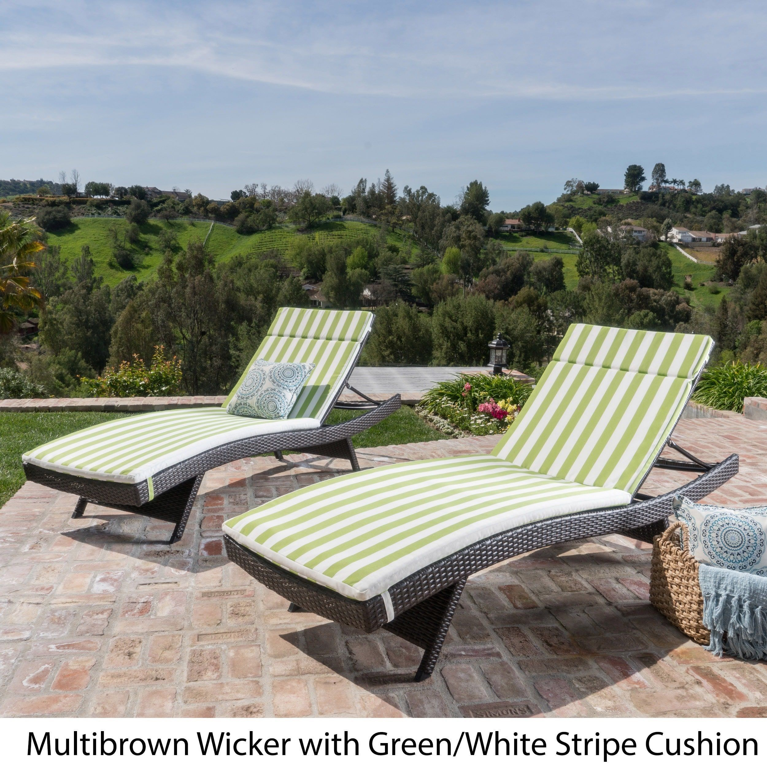 Toscana Outdoor Cushioned Wicker Chaise Lounge By Christopher Knight Home  (Set Of 2) (Brown Wicker   Bright Green Cushion), Patio Furniture  (Polyester)