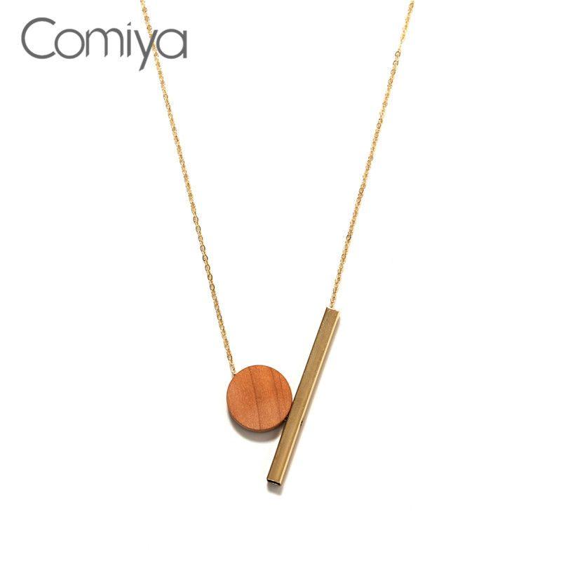 Charm Alloy Fashion Gold Chain Wood Geometric Pendant Long Necklace