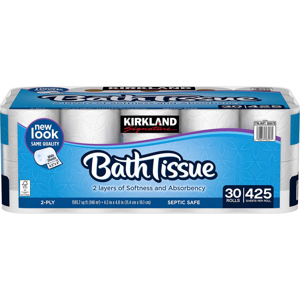 Kirkland Signature Bath Tissue, 2-Ply, 425 sheets, 30 rolls