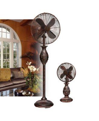 Decobreeze Fleur De Lis Table Fan Brown Floor Fans