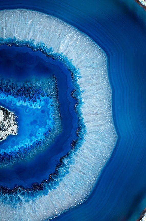 Photographie minérale – (Print 034) Blue Agate -Fine Art Print – Mineral Geode Agate Crystal Decor