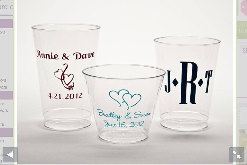 Hard Plastic Cups For Wedding Favors Only 050 Each For 200 Http