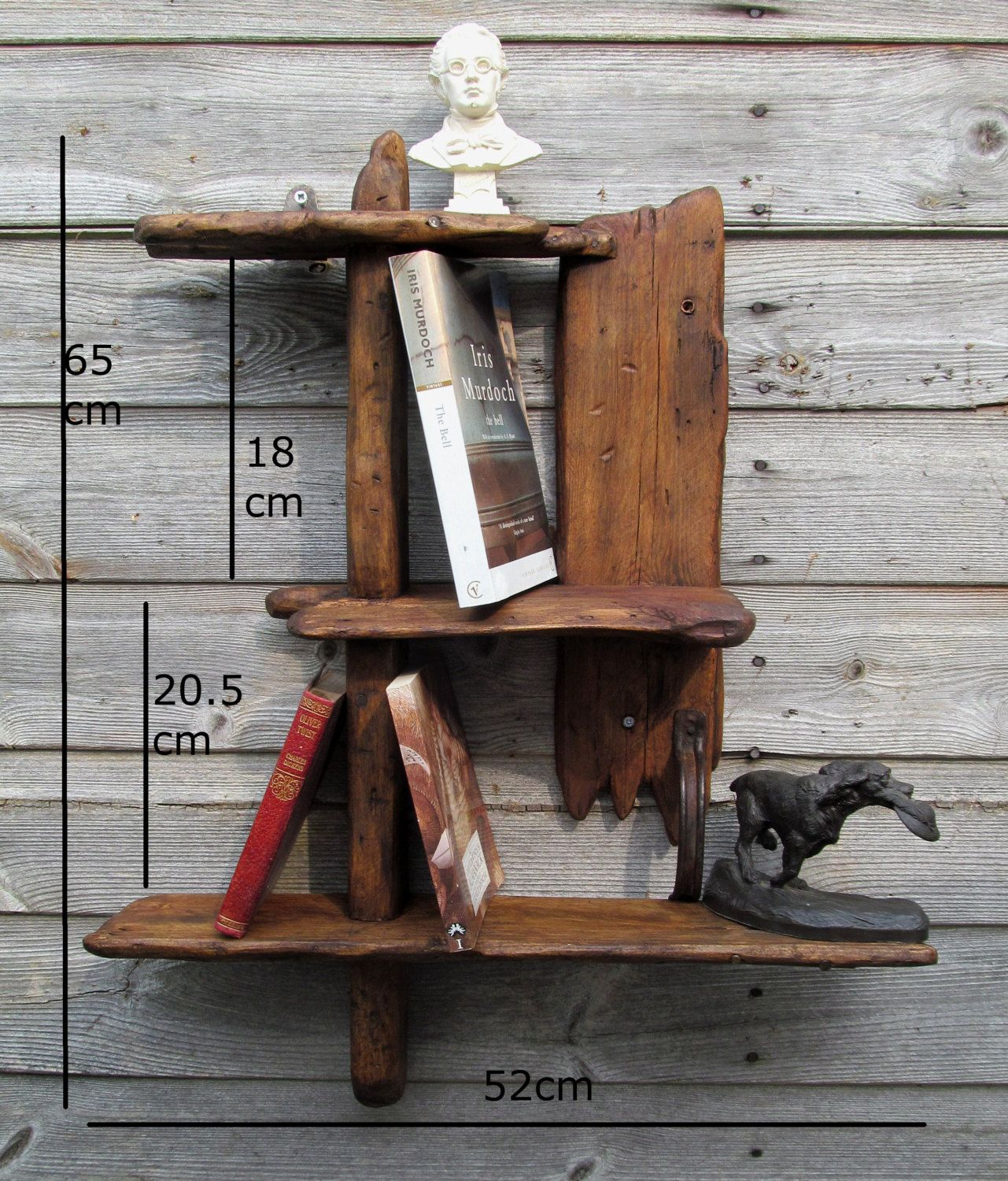 Rustic/driftwood style shelves in locally sourced,recycled timber in dark oak wax finish. by yorkart on Etsy