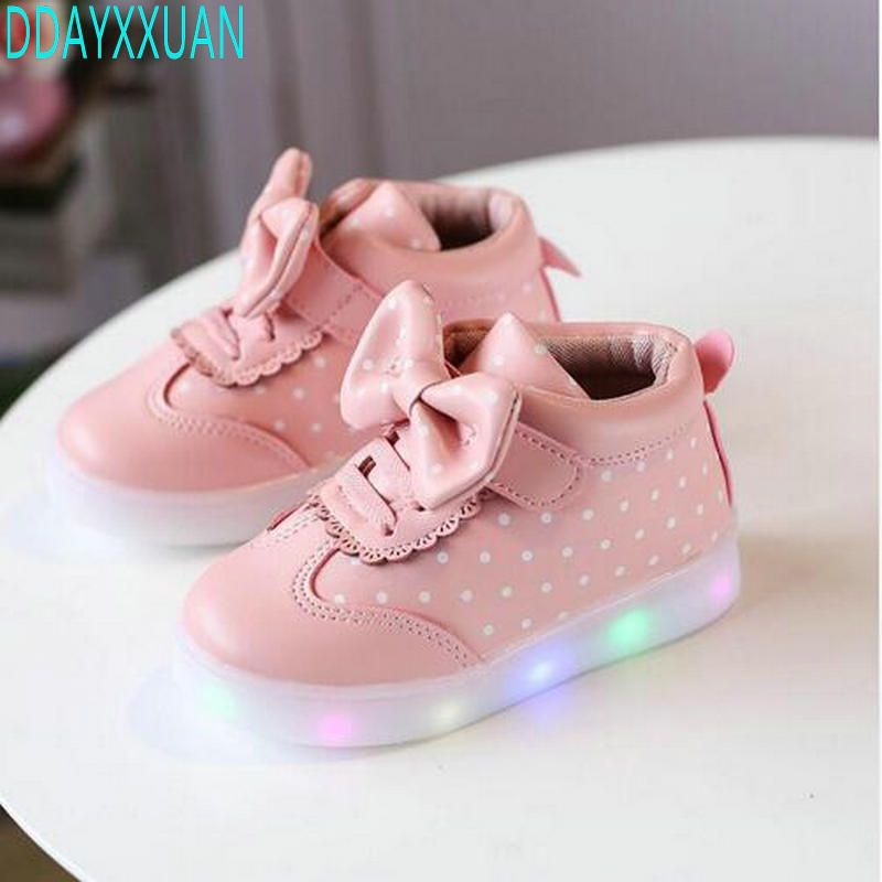 Spring Autumn Kids Led Shoes For Girls Toddler Girl Sneakers Sweet Children Casual Sneakers With Light Soft Sport Kid Shoes Cute Baby Shoes Designer Baby Shoes