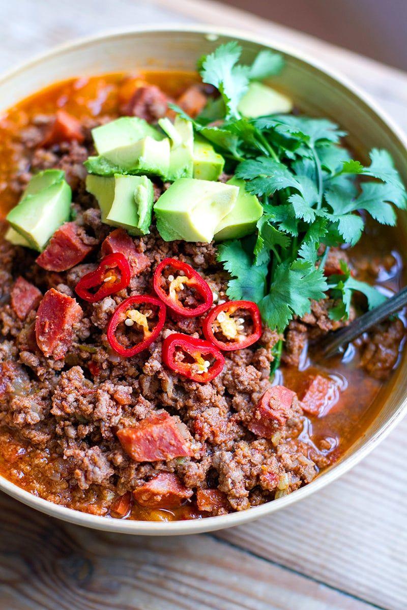 Instant Pot Beef Chorizo Chili Paleo Whole30 Gluten Free In 2020 Beef Chorizo Instant Pot Recipes Chili Instant Pot Recipe