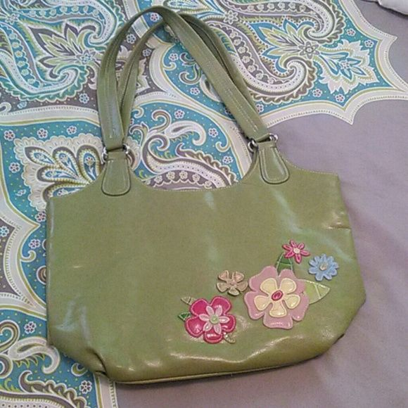 Cute handbag Cute handbag olive green in color with flowers on front and zipper pocket on the back... Bags